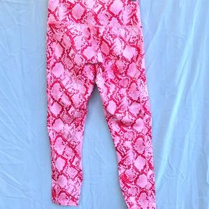 Pink Snake Print Leggings